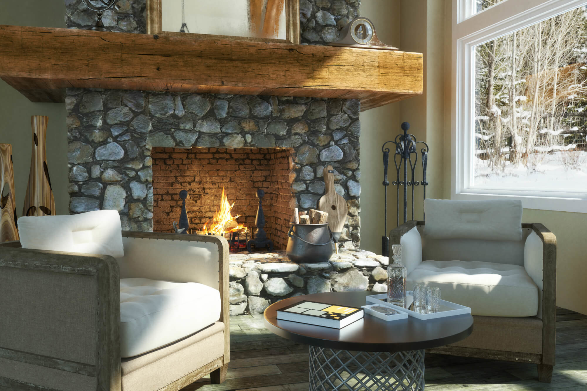 winter cabin fireplace in Deer Valley