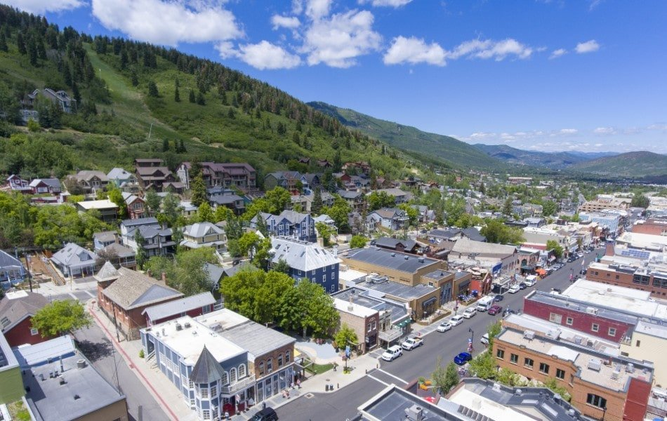 Park City Utah Main Street Seen From Above on Sunny Day