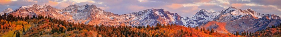 Fall panorama of Wasatch Mountains near Park City, Utah